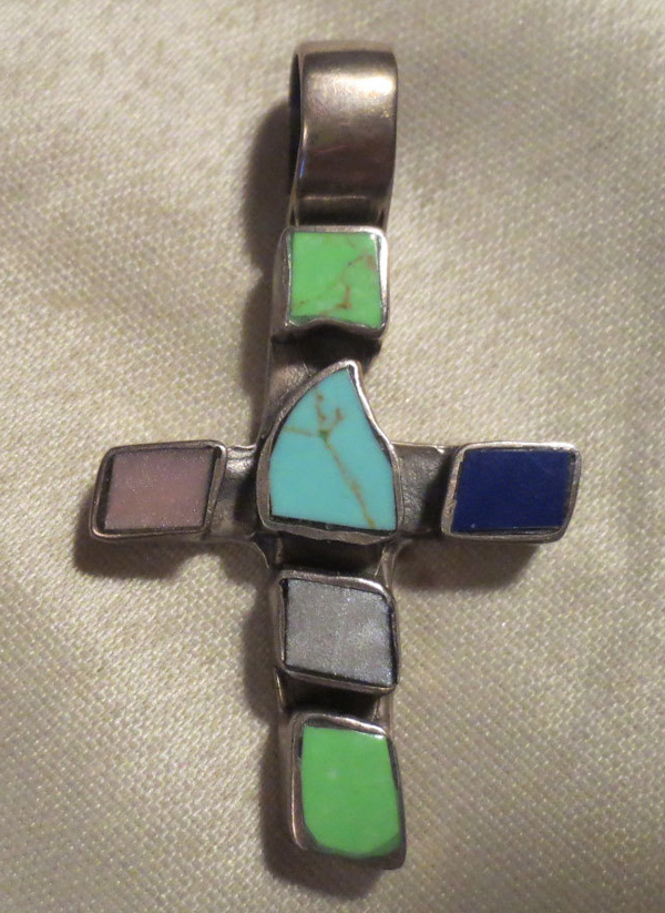 Sterling Turquoise Blue Lapis Cross Pendant Vintage Mexico Silver
