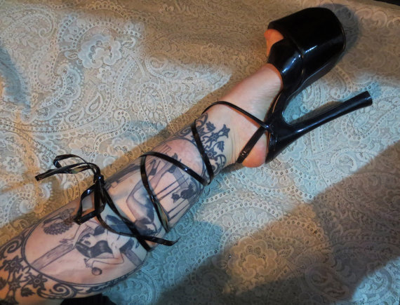 Black Lace Up 7 Inch Heels Fetish Shiny Ballet Platform Size 6