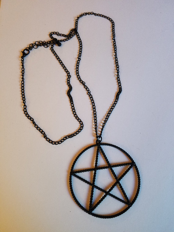 Large Black Pentagram Pendant on Chain Necklace, Goth Occult Wicca