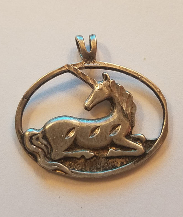 Vintage Handmade Sterling Silver Unicorn Pendant, Fantasy Jewelry