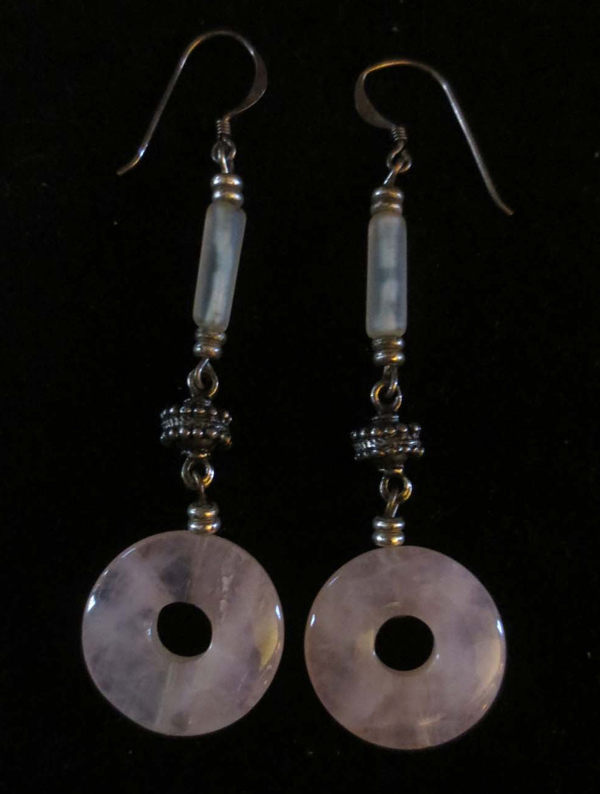 Vintage Sterling Silver Rose Quartz Earrings Love Stone