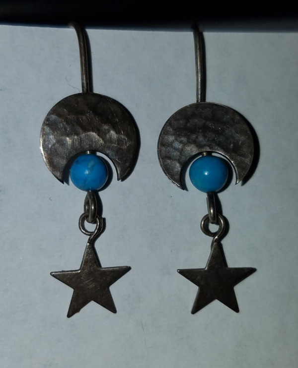 Sterling Silver Crescent Moon Star Earrings Turquoise Bead