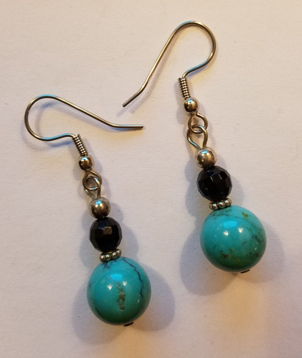 Handmade Sterling Silver Onyx Turquoise Dangle Earrings