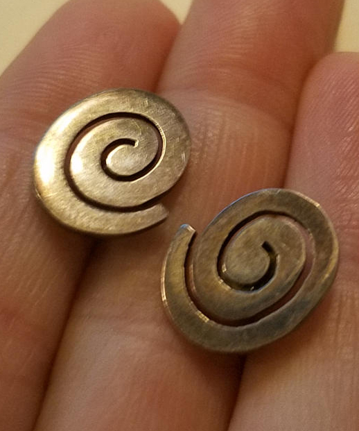 Vintage Sterling Silver Spiral Earrings Pagan Labyrinth