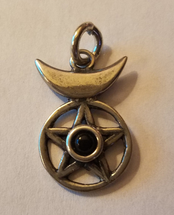 Sterling Silver Pentagram Crescent Moon Pendant Black Onyx Pentacle