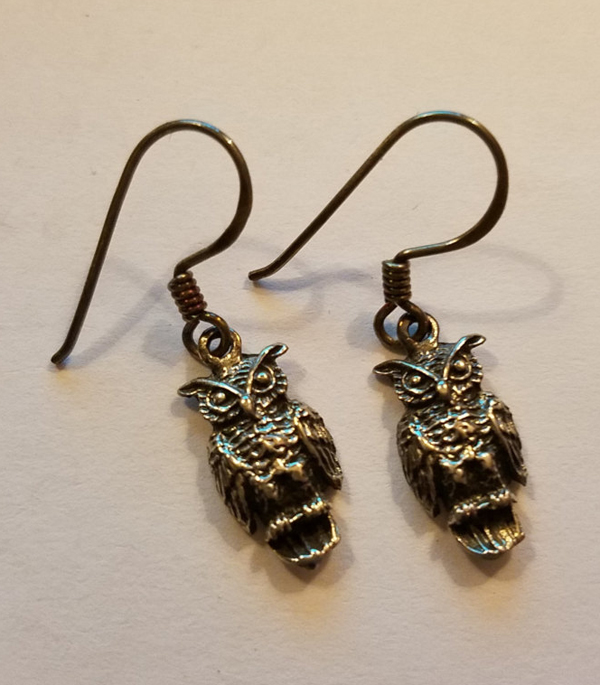 Sterling Silver Owl Earrings Gothic Bird Jewelry