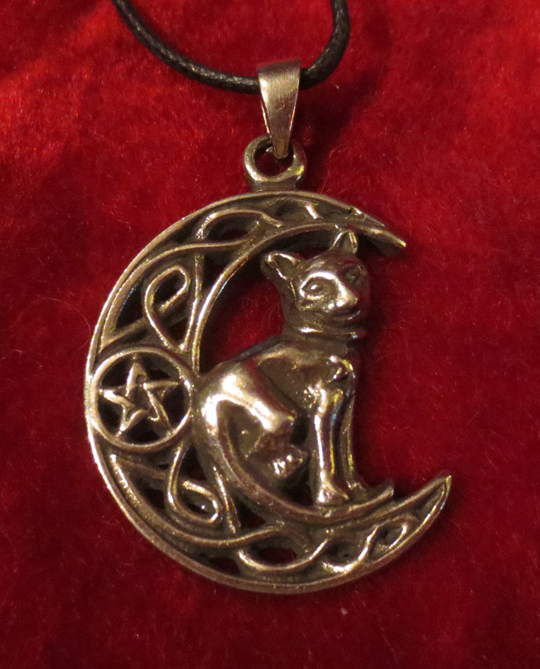 Celtic Cat Waning Crescent Moon Pentagram Pendant