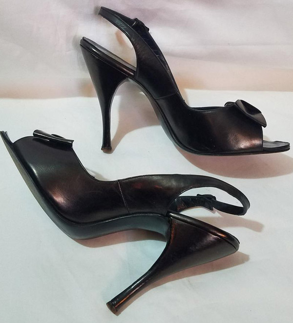 Vintage 1950's Black Leather Fetish Heels, Bettie Page, 5 Inch w/Bows