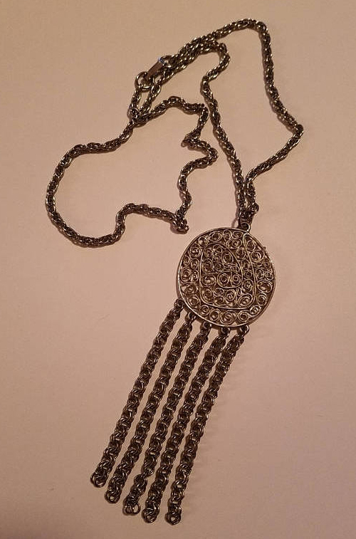 Vintage 1960's Silver tone Necklace Medallion w/Chains Statement Piece