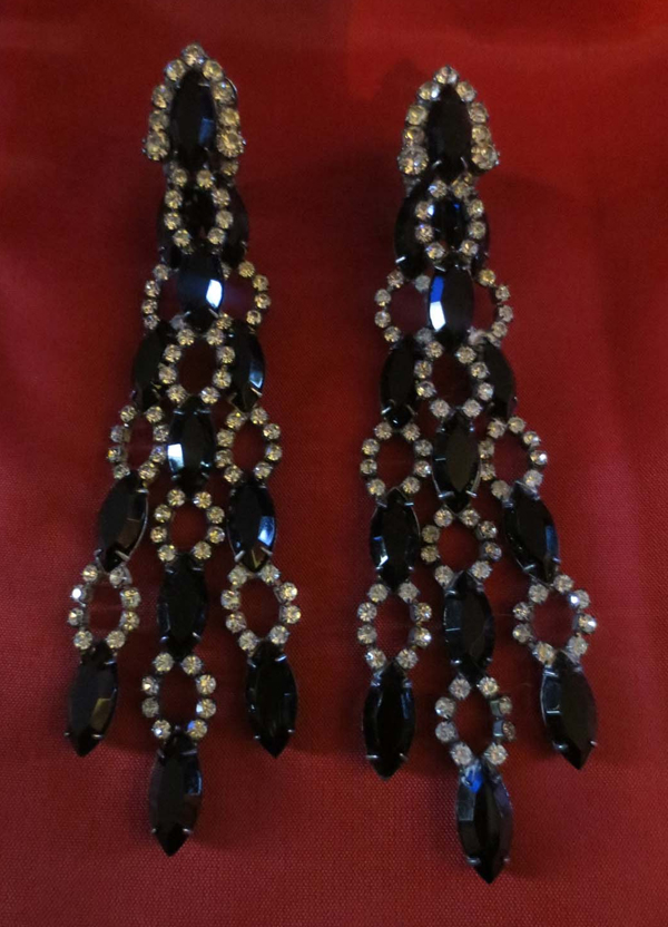 Vintage Black and Clear Rhinestone 4 1/2 Inch Long Duster Earrings