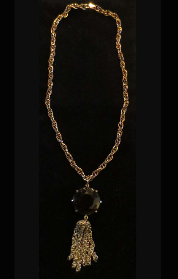 Vintage 1960's Gold tone Necklace Gothic Smokey Quartz Jewel Chainlink