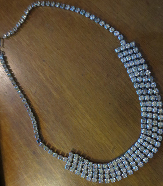 Vintage Rhinestone Colllar Choker Necklace Four Strand
