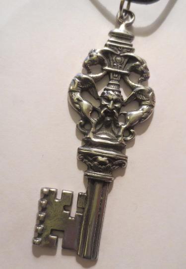 Griffin Bacchus Medieval Skeleton Key 2.5 Inch Pendant