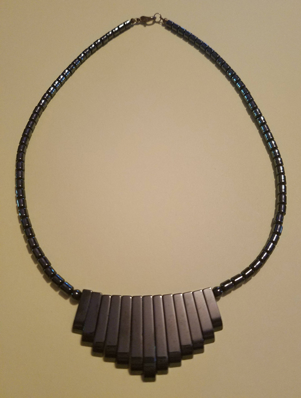 Vintage Art Deco Style Genuine Hematite Beaded Necklace, Blood Stone