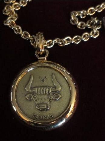 Vintage 1960's Taurus Necklace Bull Zodiac HUGE Pendant