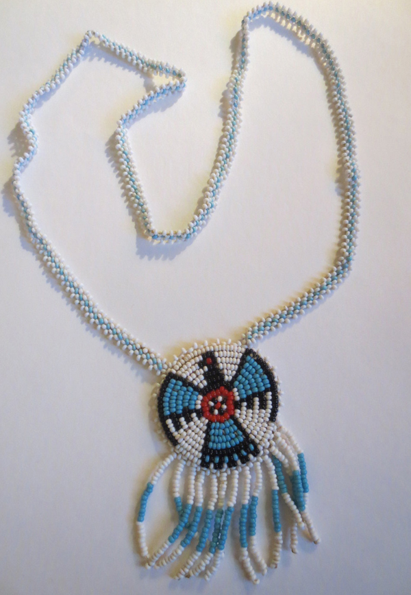 Vintage Beaded and Leather Handmade Hand Strung Necklace Aztec Indian
