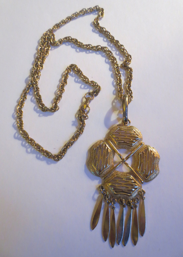Vintage 1960's Goldtone Statement Pendant Necklace 24 inch Chain, Mad Men