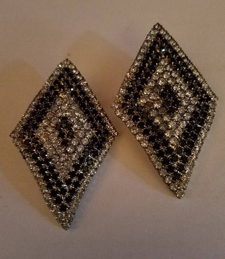 Vintage Large Black and Clear Rhinestone Earrings Art Deco