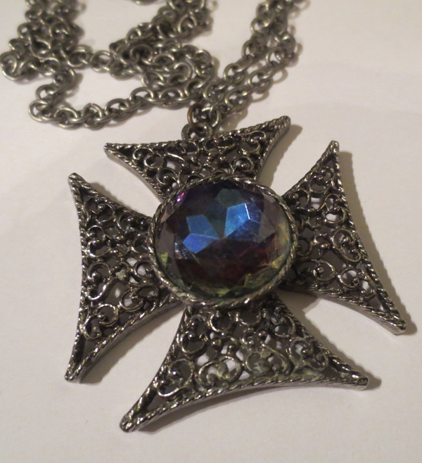 Vintage Maltese Cross Pendant Necklace Purple Stone Gothic