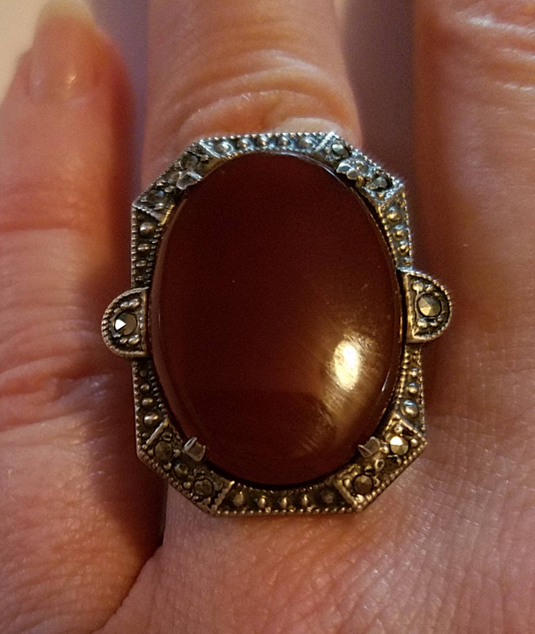 Vintage Art Deco Sterling Silver Carnelian Marcasite Stones Ring, 1920's