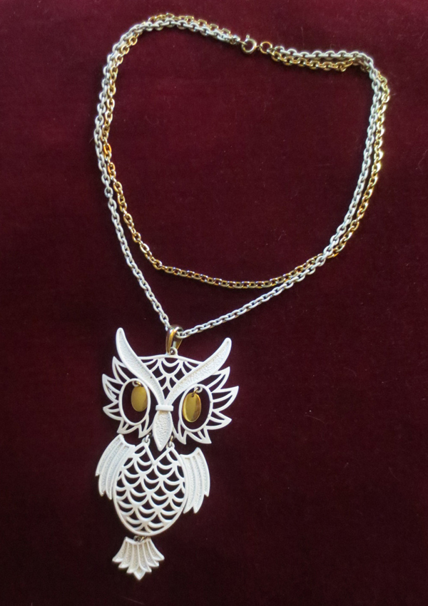 Vintage 1960's Huge Owl Pendant Necklace Gold and White