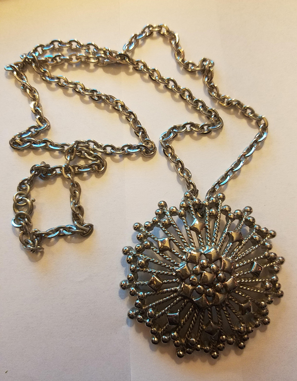 Vintage Monet 1960's Silver tone Necklace, Round Medallion 24 inches
