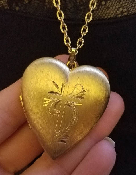 Vintage Heart and Cross Religious Locket Goldtone Pendant Necklace