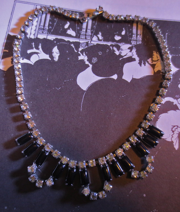Vintage Rhinestone Choker Necklace Pin-up Goth Rockabilly Glamour