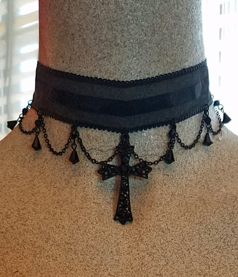 Black Jeweled Cross Choker Necklace Steampunk Gothic Vampire