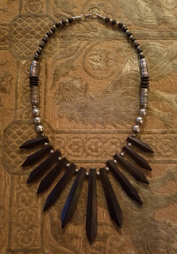 Vintage 1970's Bohemian Black Wood Spikes Necklace, Tribal Hippie
