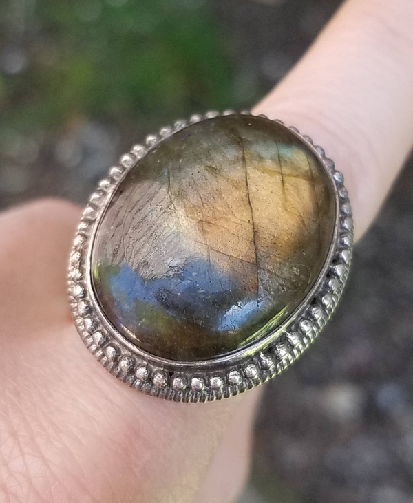 Labradorite Sterling Silver Ring LARGE 28 mm Stone Psychic Jewelry Size 7 1/2 7.5
