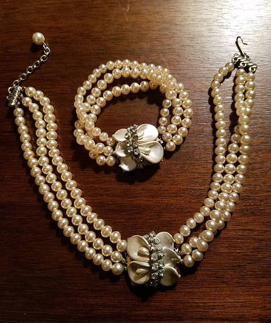Vintage Pearl Beaded Choker and Bracelet Set, Wedding Jewelry, 1950's