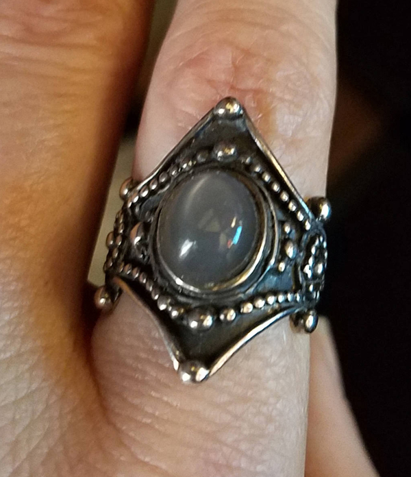 Sterling Silver Gray Moonstone Ring Size 6, Gothic Medieval
