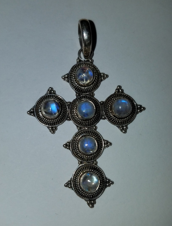 Vintage Rainbow Moonstone Sterling Silver Cross Pendant