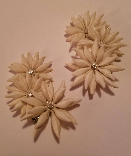 Vintage 1950's White Plastic Diamante Clip on Flower Earrings, Ear Creeper Style