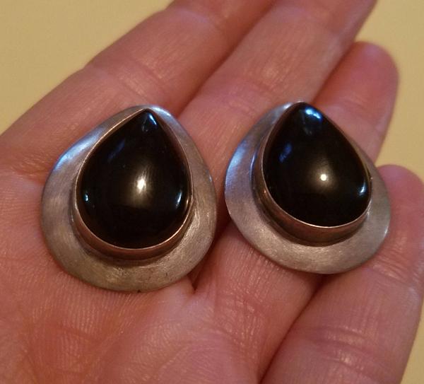 Vintage 1930's Large Sterling Silver Black Onyx Earrings, Teardrop Stone, Pierced Posts