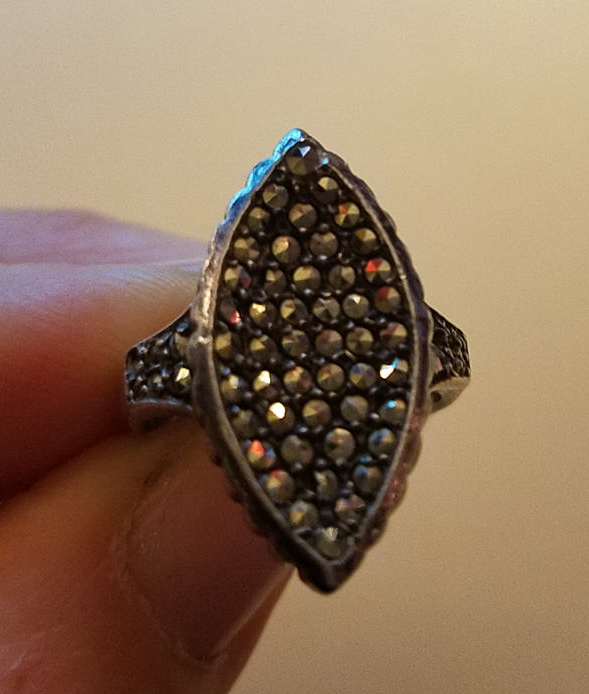 Antique 1920's Art Deco Marcasite Sterling Silver Ring Size 5