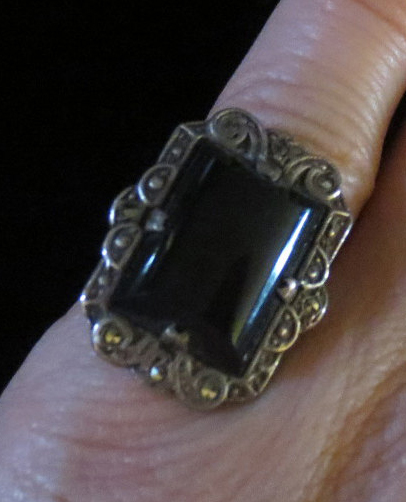 Vintage 1930's Sterling Silver Black Onyx Marcasite Ring