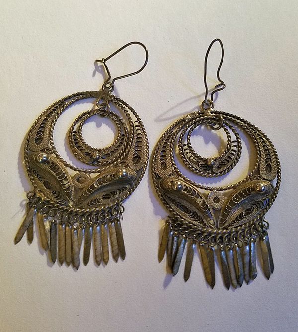 "Vintage Silver Earrings Chandelier 2.75"" Long, Handmade Tribal BOHO Bohemian"