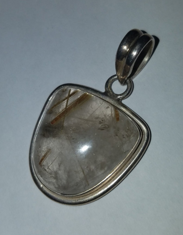 Sterling Silver Rutilated Quartz Venus Hair Stone Pendant