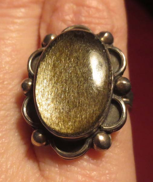 Vintage Gold Sheen Obsidian Sterling Silver Ring Mexico Eagle Mark Size 5.5