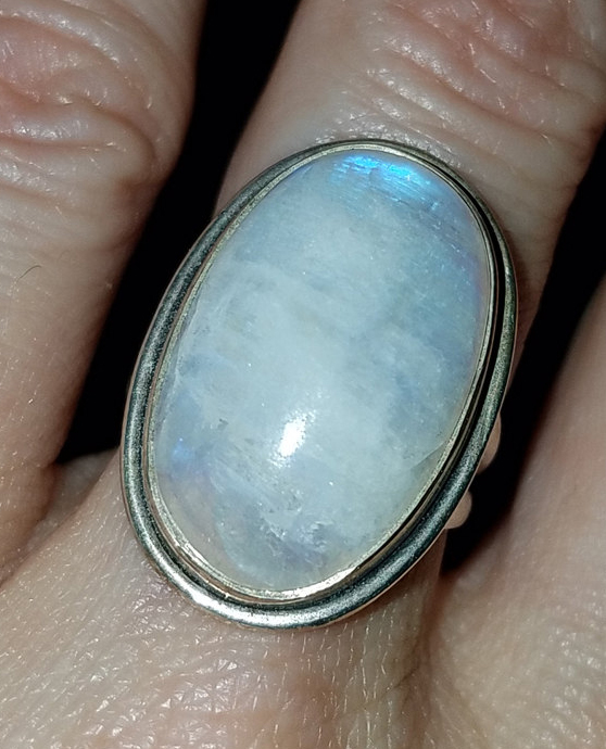 Mystifying Rainbow Moonstone Sterling Silver Ring Size 6