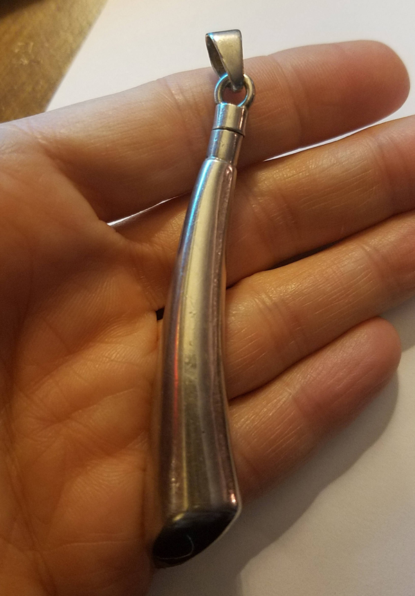 Vintage Sterling Silver Mexico Perfume Dabber Pendant Bottle, Very Unique Style