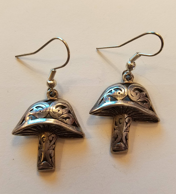 Vintage Sterling Silver Mushroom Earrings, Dangle Style, very Detailed