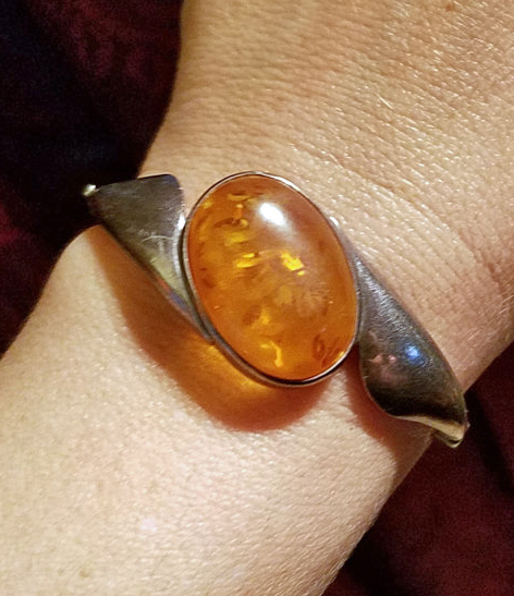 Vintage Baltic Amber Sterling Silver Cuff Bracelet Large Stone