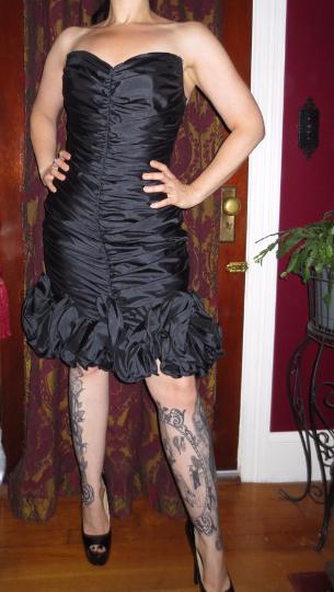 Vintage Black Strapless Corset Cocktail Dress Med Lg