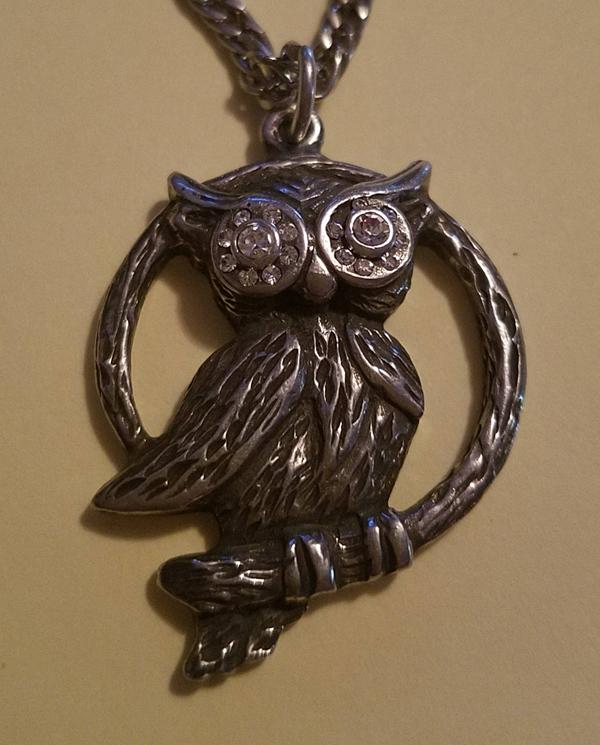 Vintage Silver Pewter Owl Pendant w/Rhinestones on Chain
