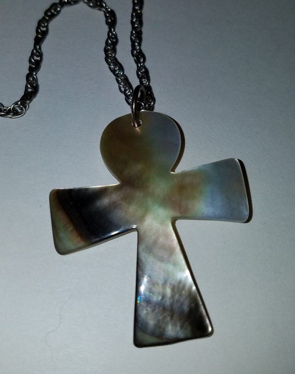 Vintage Egyptian Ankh Mother of Pearl Shell Pendant Necklace