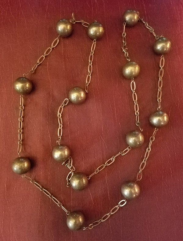Vintage 1960's Necklace Goldtone Ball shaped Beads 38 inches