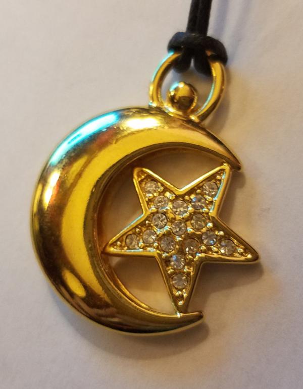Vintage Goldtone Crescent Moon Pendant w/Rhinestone Star